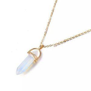 Bohemian Opal crystal necklace gold boho
